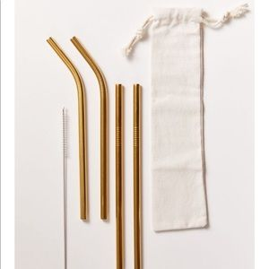 Gold stainless steel reusable straw set 4 pack kit